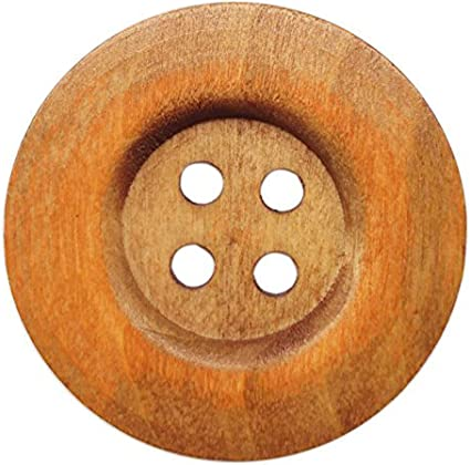 Chenkou Craft 20pcs Big Size 50mm 2 Brown Round Wood Buttons 4 Holes Craft Sewing Button
