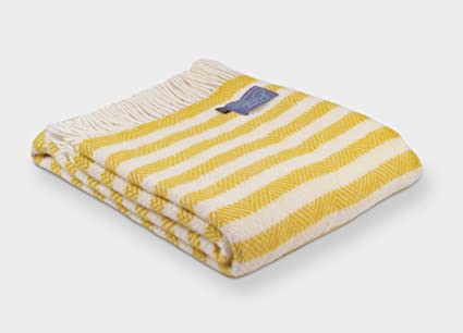 f00d221bf8 The British Blanket Company Yellow Lemon Sherbet Stripe Throw  Amazon.co.uk   Kitchen   Home