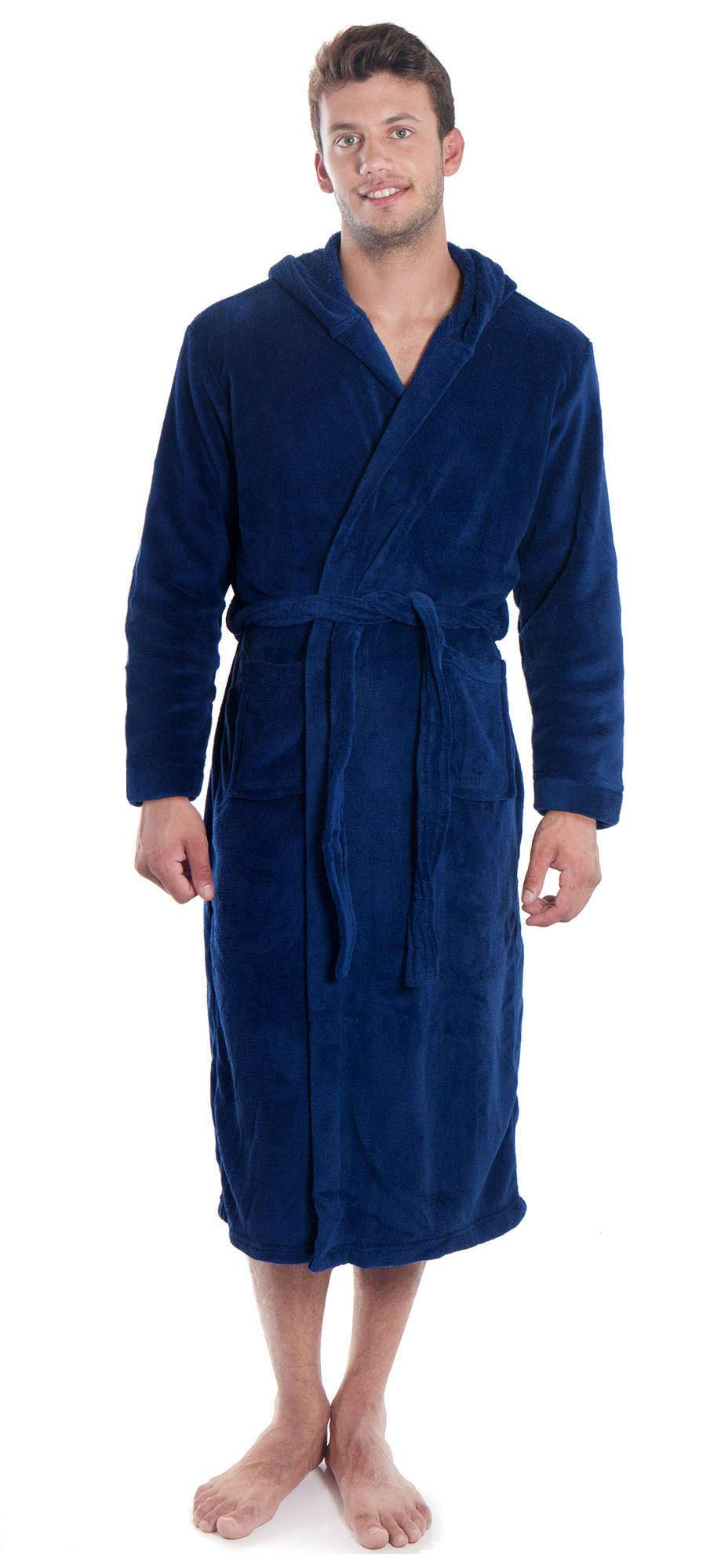 Simplicity Men s Plush Warm Long Hooded Bathrobe Kimono Robe eceeb2765