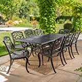 Ariel | 9 Piece Outdoor Cast Aluminum Dining Set | Rectangle | Perfect For Patio | in Shiny Copper