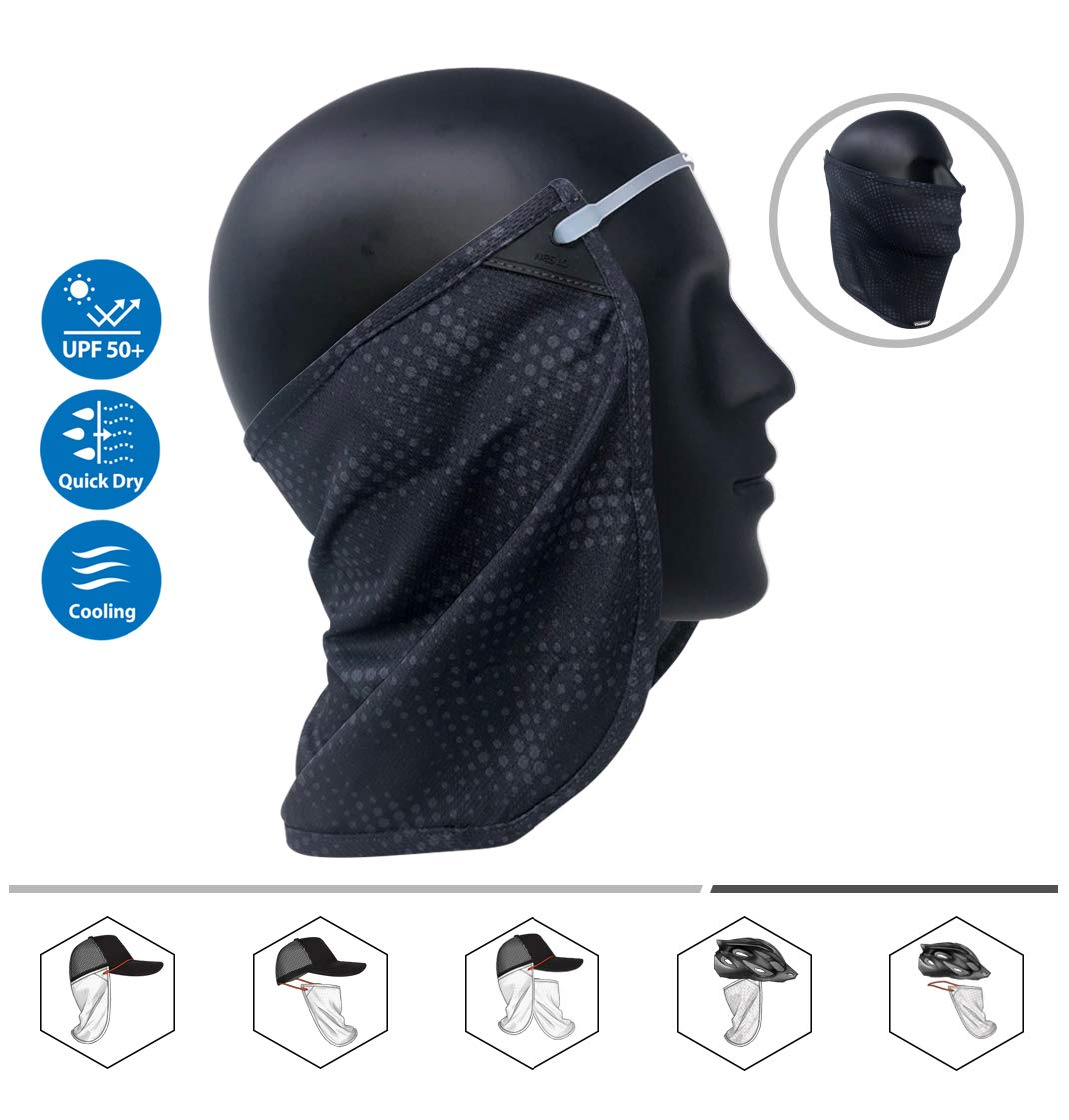 eb21fa04d CoolNES Neck or Face Sun Mask | 1 Product 2 Uses | Removable Universal Fit  Headband + Flap | Cap | Hat | Bike | Ski | Hard Hat Helmets UPF 50+ ...