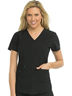 a4bf912df7b Amazon.com: Med Couture Touch Women's V-Neck Shirttail Scrub Top ...