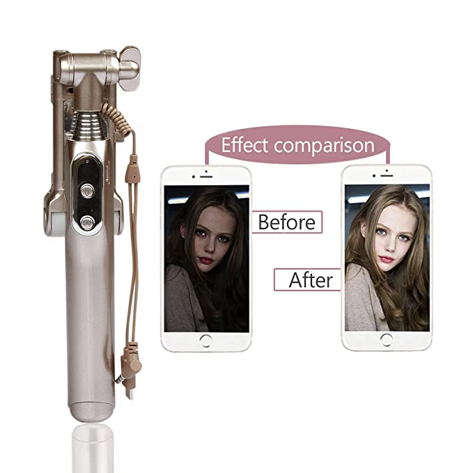 10 opinioni per iPhone 8 iPhone X Bastoni Selfie Selfie Stick- [No Bluetooth] Wired selfie con