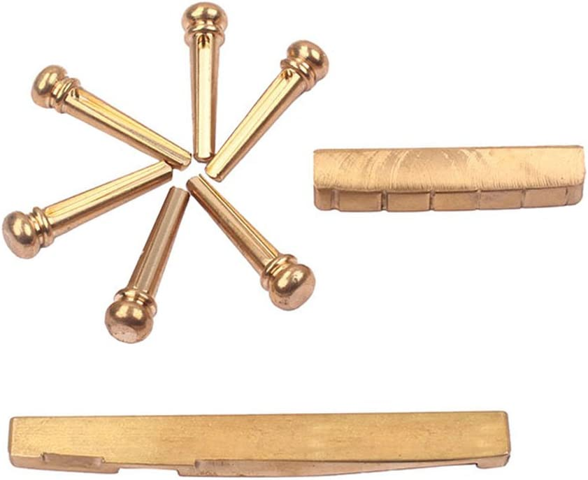 ULTNICE Bridge Pins with Bridge Saddle and Nut for Acoustic Guitar Brass