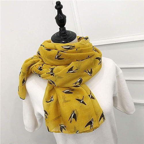 8fe80875ec100 Amazon.com: Cartoon Swallow Print Scarves Yellow Scarf Wraps Hijab Cape for Women  Birthday Gifts: Handmade