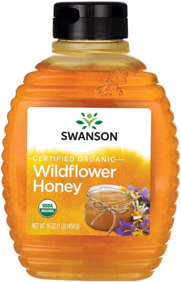 Swanson Certified Organic Raw Wildflower Honey 16 Ounce (1 lb) (454 g) Liquid
