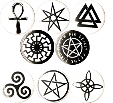 Amazon Com Wiccan Symbols 8 New 1 Inch 25mm Pins Button Badge
