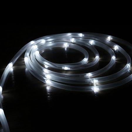 Hunpta - Guirnalda de luces solares para jardín, exteriores, luces solares de jardín, impermeables, para vallas, terrazas, caminos, patio, pérgola (blanco frío): Amazon.es: Iluminación