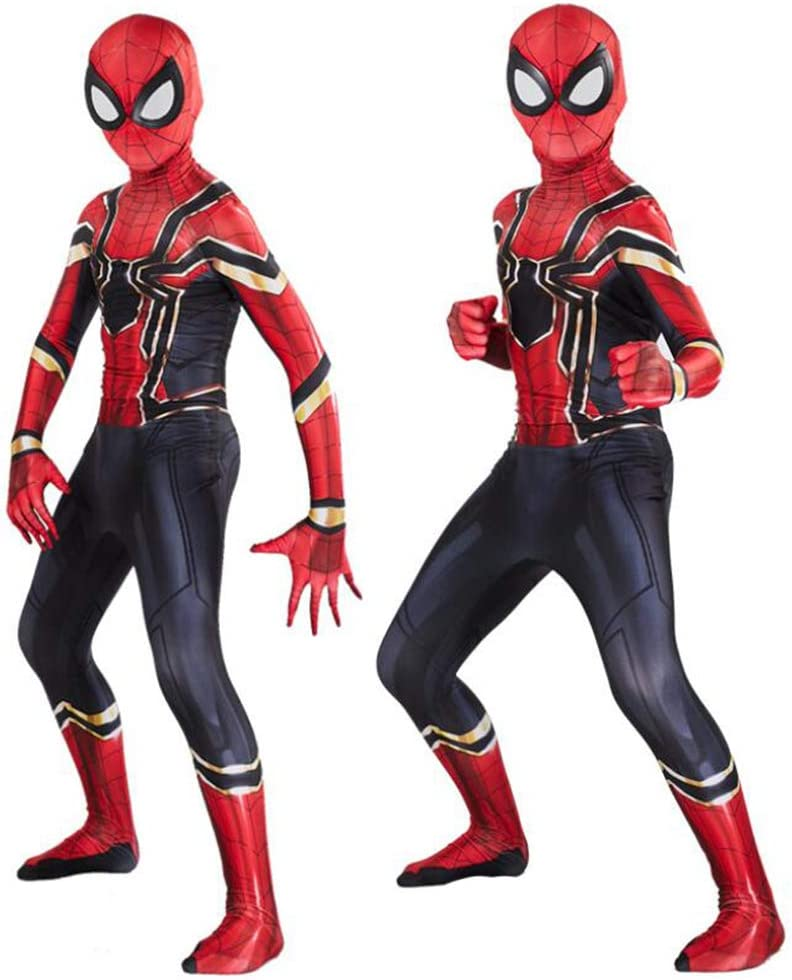 Costume Spiderman Bambino,Adult Supereroe Halloween Carnival Cosplay Spiderman Costumi,Spandex Lycra,SkyBlue- 95~105cm