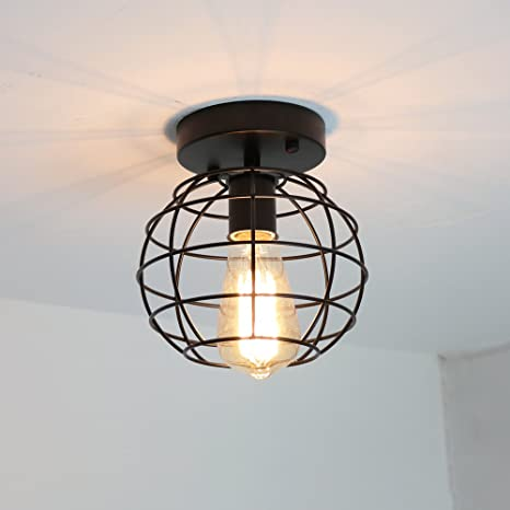 Create for Life Small Ceiling Light Fixture Metal Rustic Flush Mount ...