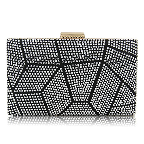 Clutch silver and Bag Ladies Female Chains Side Women Clutch Crystal Party KYS Two Evening Purse Long Wedding Bags With Short Hpq7Wa