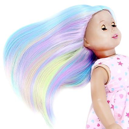 Peluca para muñecas STfantasy colores del arco iris, pelo liso y largo (