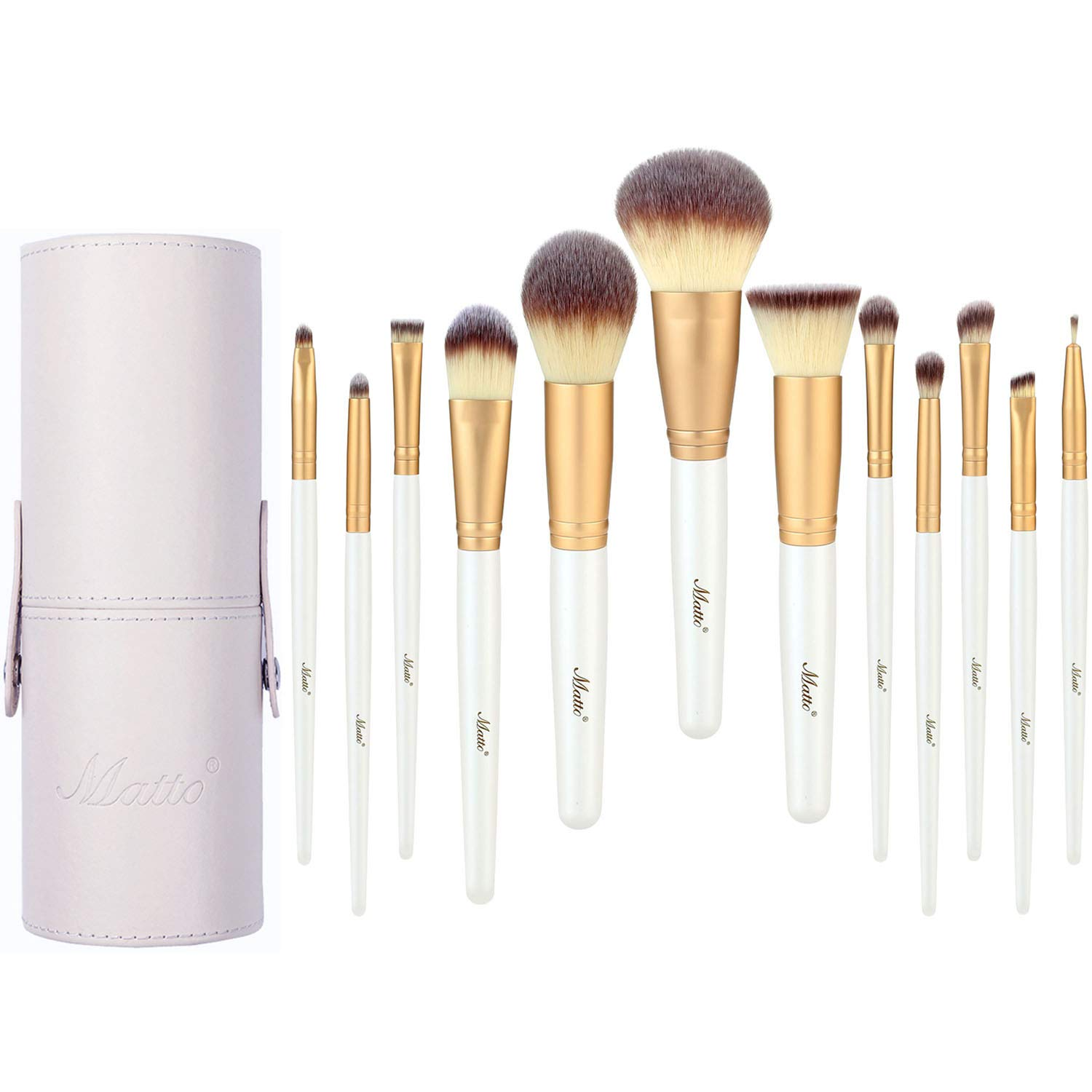 Matto Makeup Brushes 12 Piece Makeup Brush Set with Holder for Eye Face Make Up Brushes