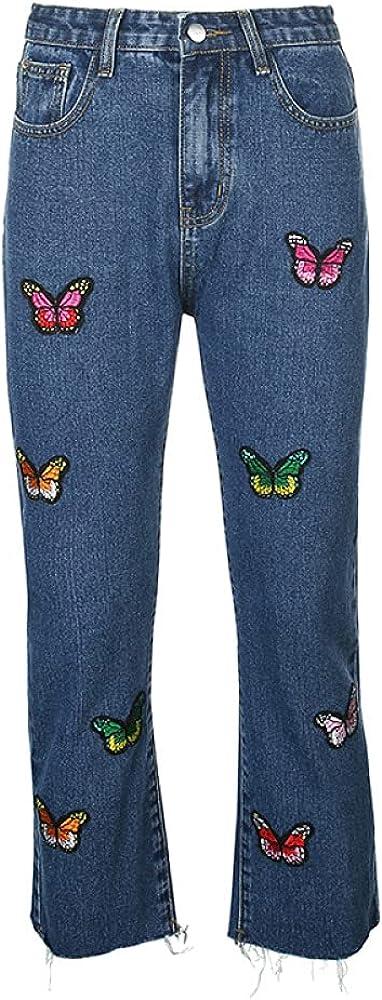 XYHJ Pantalones Vaqueros de Mujer Pantalones Vaqueros Casuales Pantalones Largos de Mujer Vaquero Ropa de Calle Suelta Pantalones Rectos Bordados con Mariposas