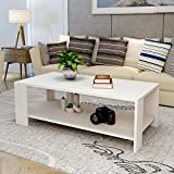 Modern Rectangle White Coffee Table with Storage Shelf for Living Room