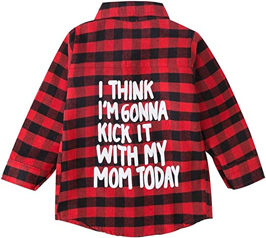 Toddler Baby Boy Girl Plaid Shirt Long Sleeve Red Flannel Button Down Tops Clothes