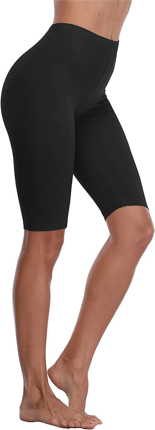 VOGUEMAX Womens Short Leggings Stretchy Mid Tight Leggings Lightweight for Under Dresses//Skirts Regular and Plus Size