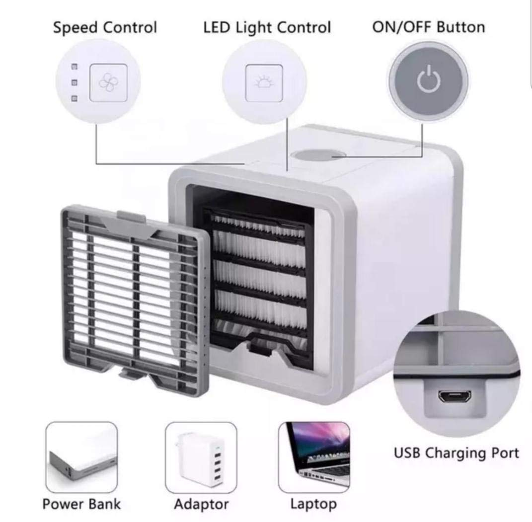 Portable Air Conditioner Fan Noiseless Evaporative Air Humidifier and 7 Colors LED Night Light for Room Office Desktop Nightstand SB 21 Air Cooler