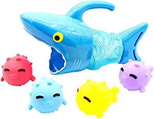 NUOBESTY Kids Bath Toys Hungry Shark Catching Fish Bathtub Water Toys Shower Toys for Boys and Girls,5pcs