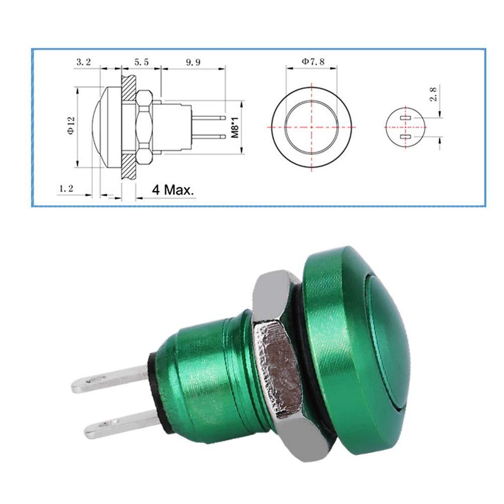 1A 24V 8mm Mini Car Auto Vehicle Zinc-Aluminium Alloy Momentary Push Button Switch Car Push Button with Exquisite CNC Housing Black
