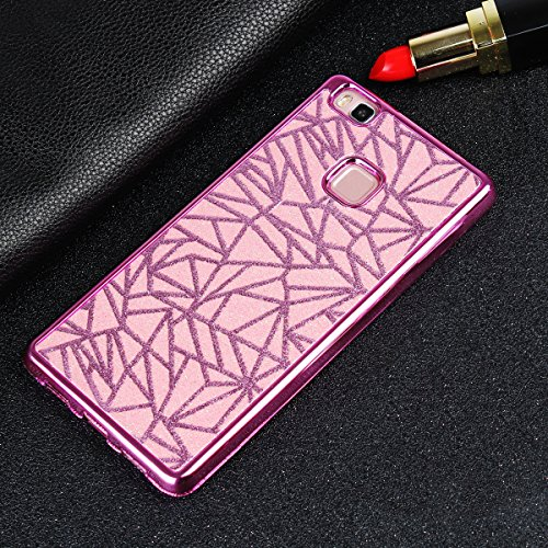 Carcasa Huawei P9 Lite, Funda Huawei P9 Lite Brillante, EUWLY Moda Elegante Alta Calidad Brillante Brillo Purpurina Suave TPU Silicona Funda Shock Absorción Anti Rasguños Anti Choque Protectora Parach Glitter Cúbico,Rosa