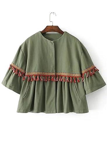 Azbro Mujer Chaqueta Decoración de Borlas con Cuello Redondo,ejército verde M