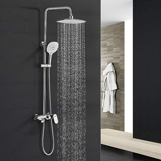 WOOHSE Conjunto de ducha y ba/ñera Sistema de ducha con alcachofa cuadrada y 3 modos ducha de mano y flexo met/álico de 1,5 m de longitud y soporte altura regulable cromo 81-114,5cm