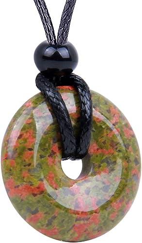 Unakite Gemstone Healing Crystal Point Pendant Necklace Reiki Grounding Jewelry