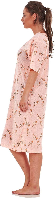 Bay eCom UK Ladies Nightwear 976 Floral Print Crew Neck Button Short Sleeve Nightshirt M-XXL