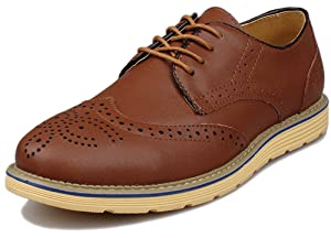Kunsto Men's Leather Brogue Oxford Dress Shoes Lace Up US Size 12 Brown