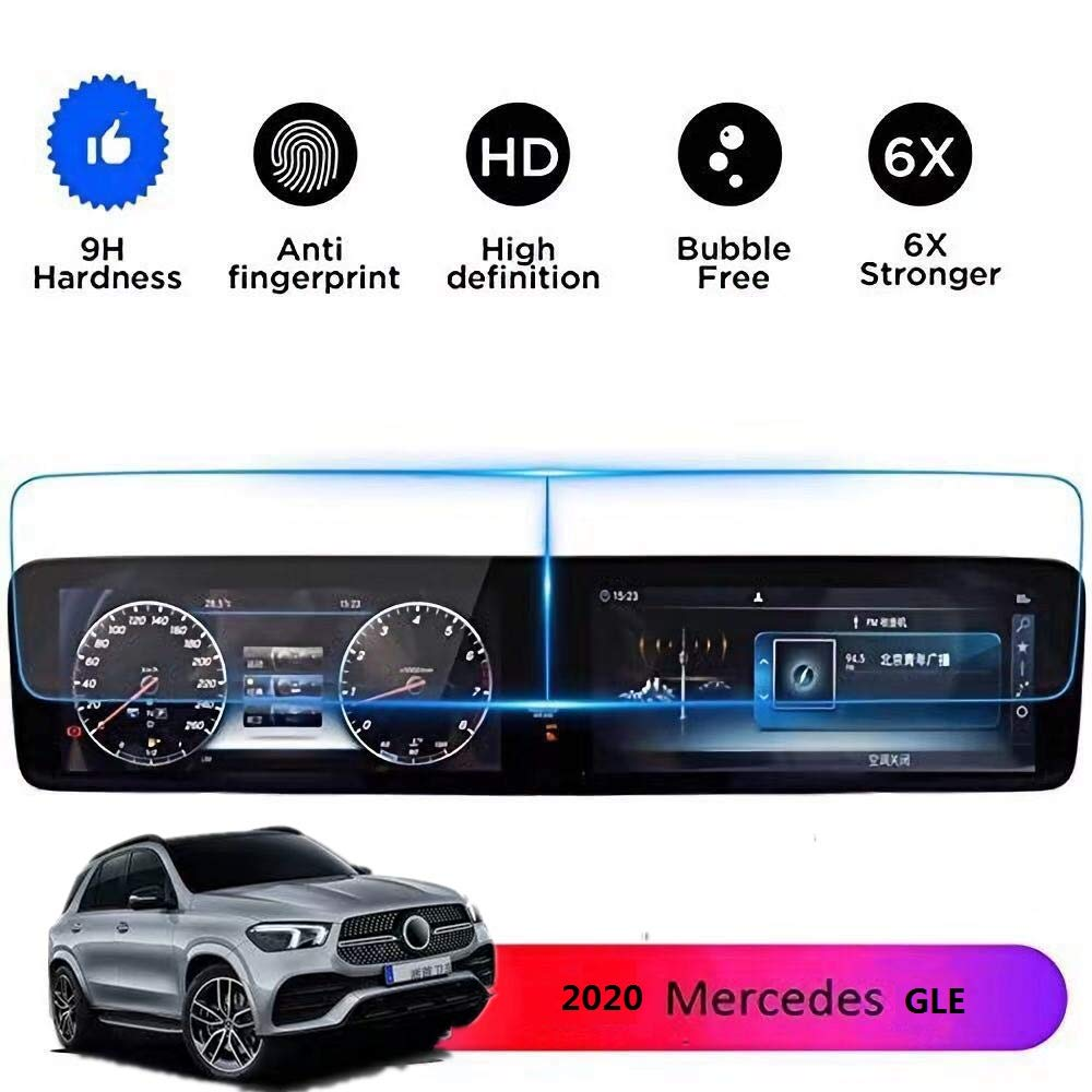 Wonderfulhz Screen Protector Compatible with 2019 2020 Mercedes Benz GLE 12.3inch Touch Screen - Anti Glare Scratch,Shock-Resistant, Navigation Protection Accessories Premium Tempered Glass (V167) by Wonderfulhz