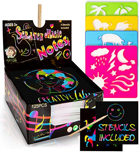 (Creative Lily Scratch Art Notes 125 Count with 2 Wooden Stylus Pens and 4 Stencils - Rainbow Colored Mini Notepapers - Creative Fun for Kids and)