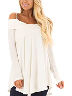18d4af0e784 KIRJAUDU Women Cold Shoulder Long Sleeve Crossover Sweater Knit Pullover  Tunic Top