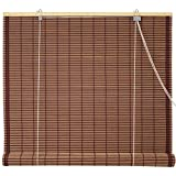 Oriental Furniture Burnt Bamboo Roll Up Blinds - Mahogany - (72 in. x 72 in.)