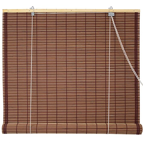 Oriental Furniture Burnt Bamboo Roll Up Blinds - Mahogany - (48 in. x 72 in.)