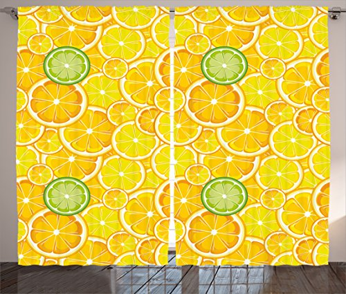 Yellow Decor Curtains by Ambesonne, Lemon Orange Lime Citrus Round Cut Circles Big and Small Pattern, Living Room Bedroom Window Drapes 2 Panel Set, 108W X 90L Inches, Yellow White and Green