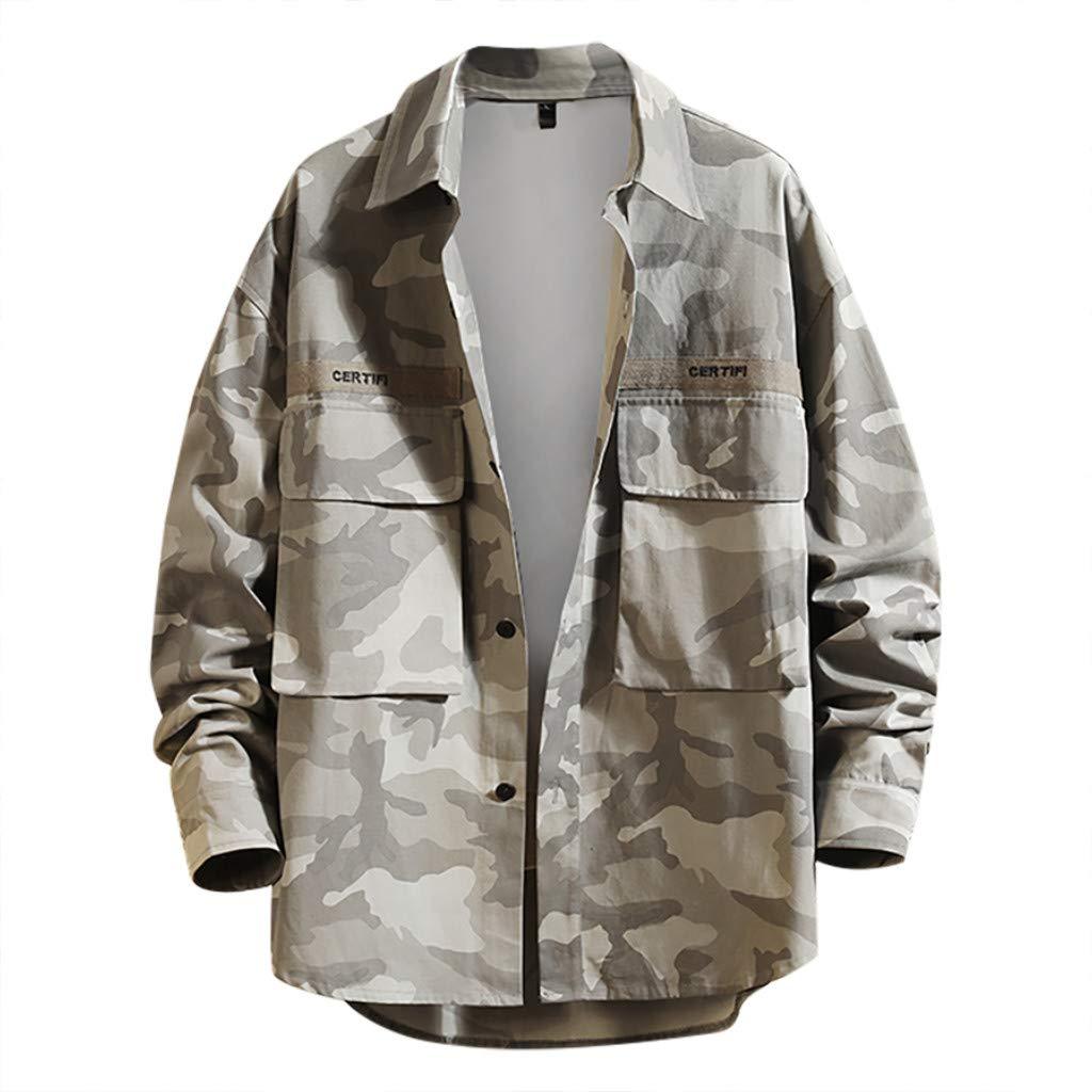 SNOWSONG Mens Lightweight Overshirt Long Sleeve Shirt Jacket Coat Button Up T-Shirt with Pockets Gray by SNOWSONG