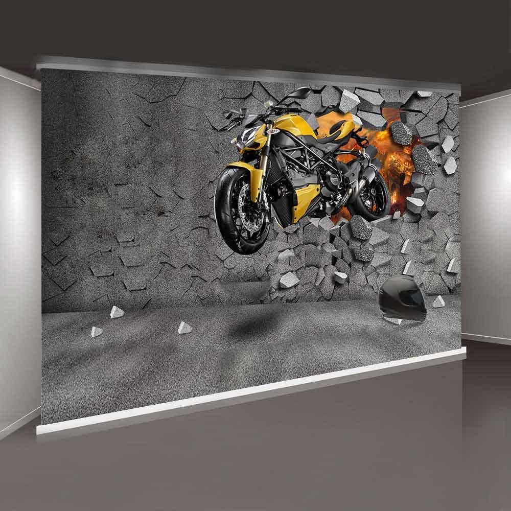 Motorcycle 15x10 FT Vinyl Photography Background Backdrops,Urban Transport Theme with Different Two Wheeled Vehicles in Dots Background for Graduation Prom Dance Decor Photo Booth Studio Prop Banner