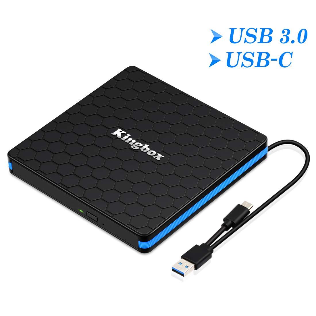 Kingbox External DVD Drive, Portable USB 3.0 Type-C CD/DVD Rewriter Burner Drive for Laptop Desktop PC Computer Windows Linux OS Apple Mac MacBook Pro Air iMac - High Speed Data Transfer - Black