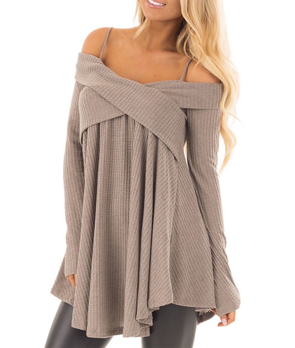 BTFBM Women's Spaghetti Strap Off Shoulder Long Sleeve Tops Asymmetrical Hem Loose Fit T Shirts Blouses (Dark Beige, X_Large)