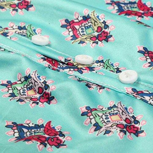 Cuello ♛JiaMeng Mujeres Las Floral de Largo Fiesta de Playa Las de Largo del V Verde la la Mujeres en de Vestido impresión Mujer Vestido Largo Vestido Maxi del de 57w6p6