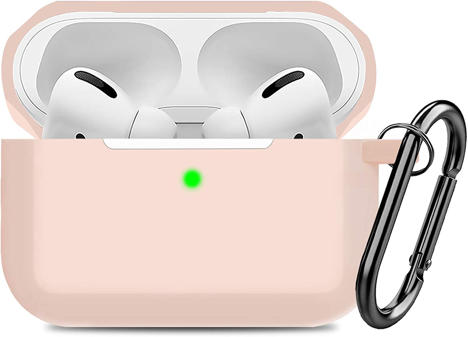Compatible AirPods Pro Case Cover Silicone Protective Case Skin for Apple Airpod Pro 2019 (Front LED Visible) Sand Pink