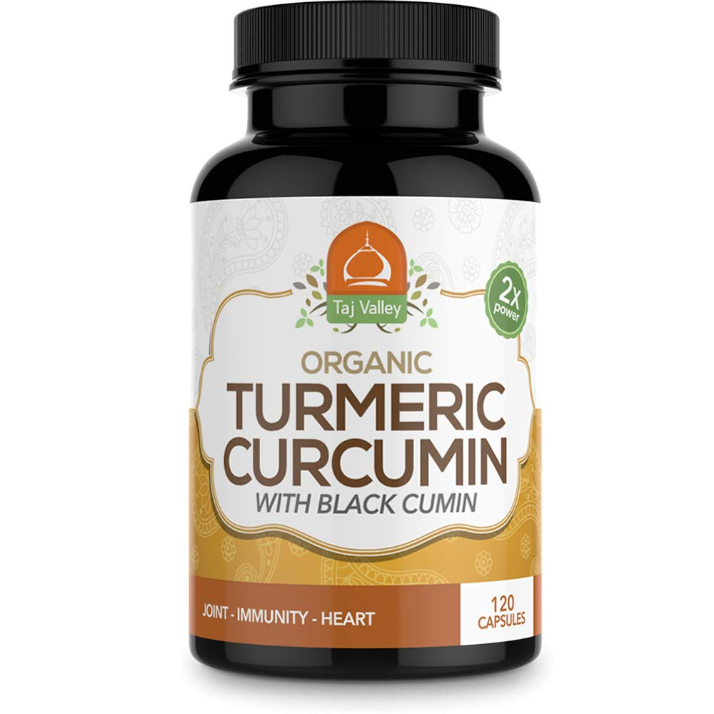 Organic Turmeric Curcumin w Black Cumin – 1100MG Per Serving – 2X Strength for Maximum Healing and Wellness – 120 Veggie Capsules – Natural and Made in The USA