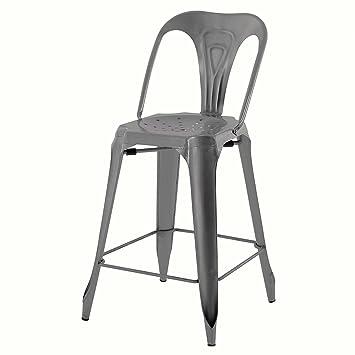 Lote de 2 sillas de encimera, Industriales, de Metal plateado ...