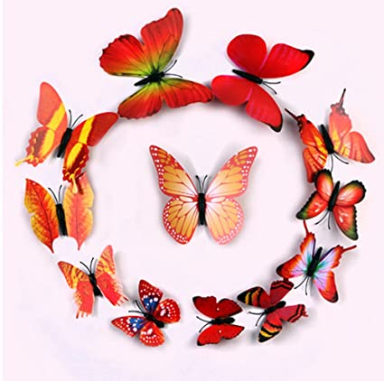 amazon com ufengke 12 pcs 3d butterflies wall stickers fashion