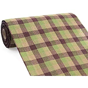 """9.5"""" Wide Faux Burlap Moss, Tan & Brown Plaid Non Wired Ribbon 10 Yards / 30 Feet Per Roll Great Pattern For Fall Or Camouflage Theme Bows, Wreaths, Table Runners / Back Drops Fall & Halloween 53"""