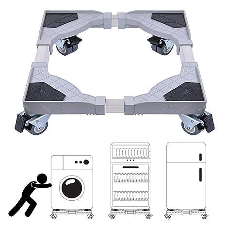 DEWEL Soporte Lavadora Ajustable con 4 Ruedas de 360°sin Ruido Base Frigorífico Antideslizante de