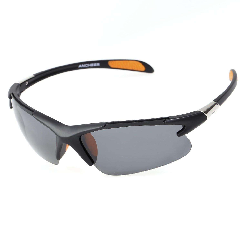 Ancheer Deportes Gafas Gafas de Sol Gafas de Ciclista Gafas Protectoras polarizadas 100% protección UV400Ciclismo Gafas para Mujer Y Hombre Negro