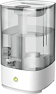 Homasy 4.5L Cool Mist Humidifiers, Top-Refill Essential Oil Humidifier, 28dB Quiet Ultrasonic Humidifier for Large Bedroom, Fresh Air Humidifier, Auto Shut Off, Up to 30 Hours, Black