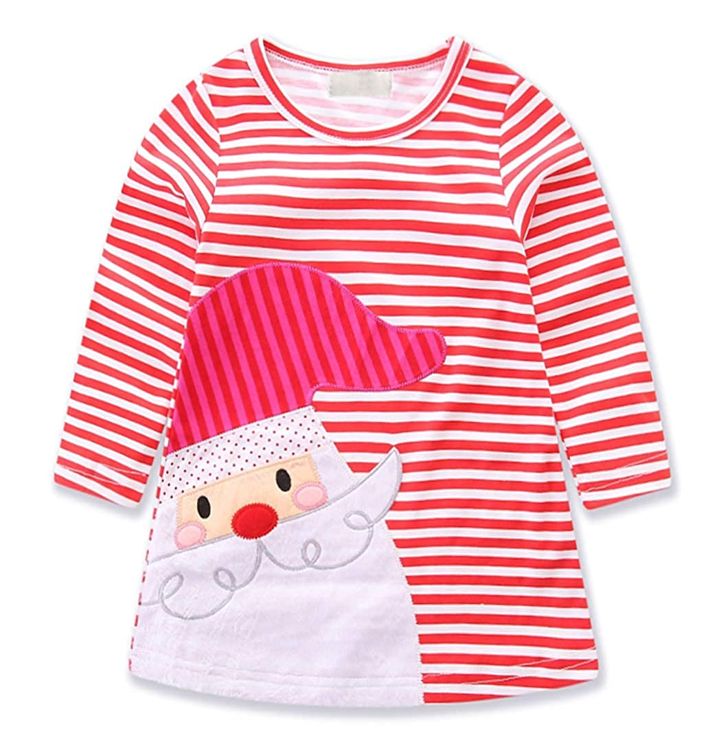 Jurebecia Little Girls Christmas Dress Toddler Kids Snowman Long Sleeve T-Shirt Dress 1-6 Years